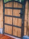 Japanese style privacy gate with bamboo infill